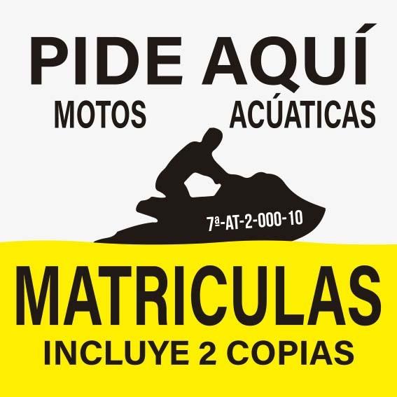 MATRICULAS PARA MOTOS ACUATICAS
